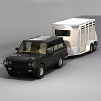 3d horse trailer suv model
