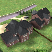 3d model of detatched houses