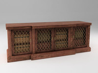 3d breakfront cabinet antique library