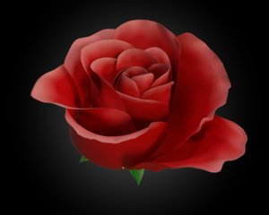 3d model animation rose flower petal