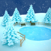 3d winter pond scene snow model