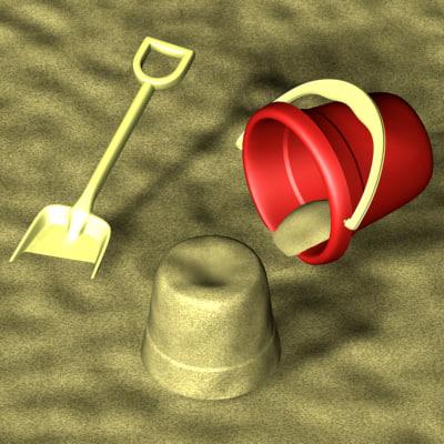 bucket shovel sand - 3d model