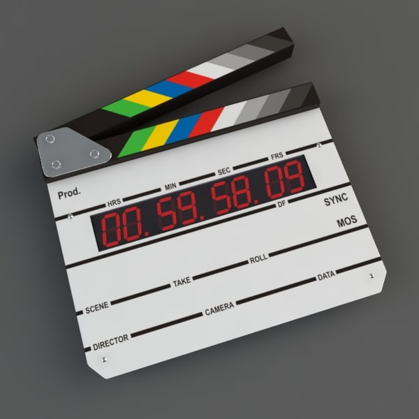 clapboard slate digits 3d model