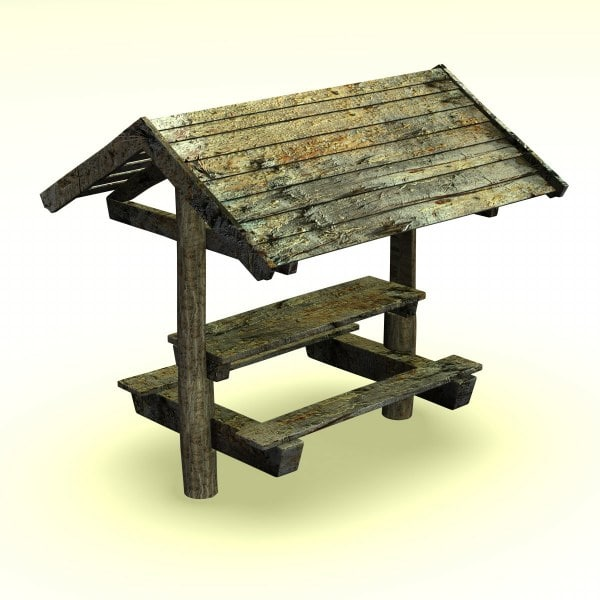 3d model wooden forest seat