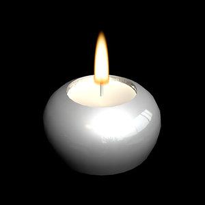 burning tealight holder flame 3d model