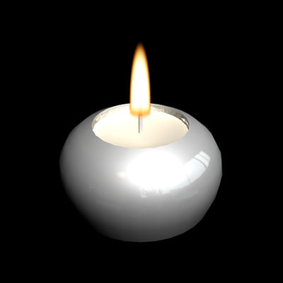 burning tealight holder flame 3d model