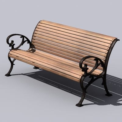 3d max bench wooden