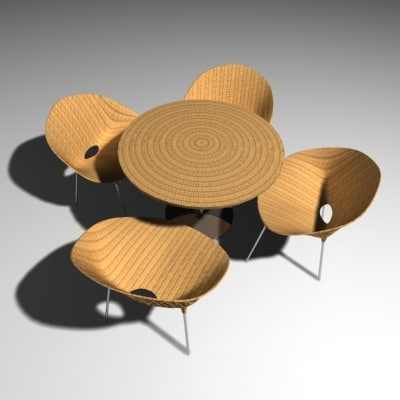3ds max wicker set woven chair table