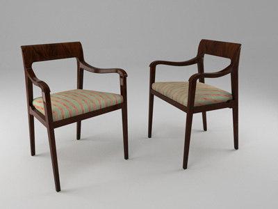 dunbar riemerschmid dining chair 3d model