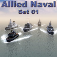 nato naval ships destroyers 3d model
