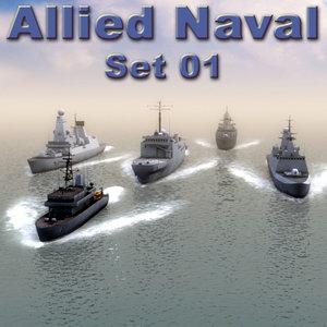 nato naval ships destroyers 3d model