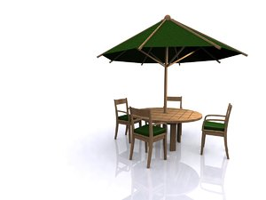 garden furniture set table chairs 3d model