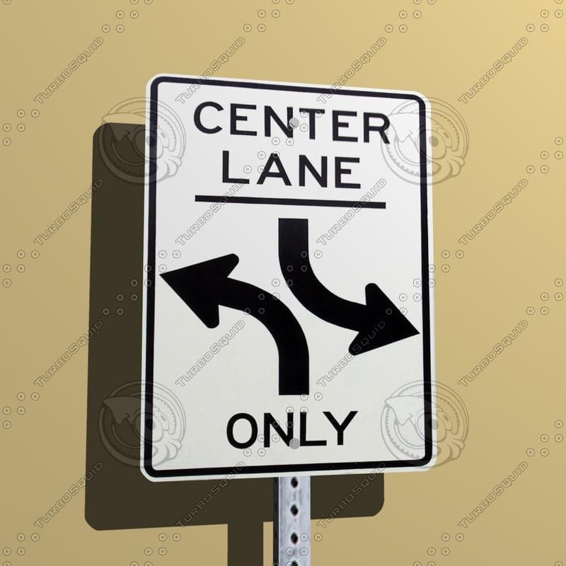 center lane sign 3d model