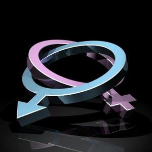 male female gender symbols 3d lwo