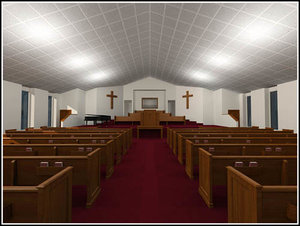 church pews pulpit 3d max