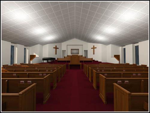 church pews pulpit 3d max