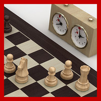 staunton chess set wood boards 3d c4d