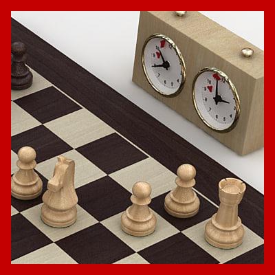 staunton chess set wood boards 3d c4d