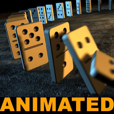 3d model dominos tumbling