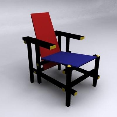 garrit rietveld blue red 3d model