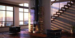 maya interior livingroom