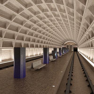 3d model metro tram station