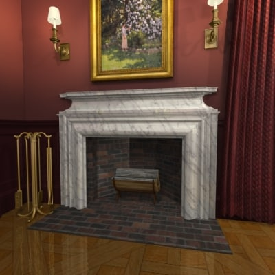 fireplace mantel 3d max