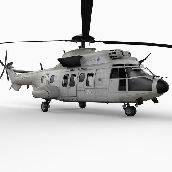 eurocopter super puma helicopter 3d model