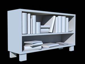 bookshelf books obj