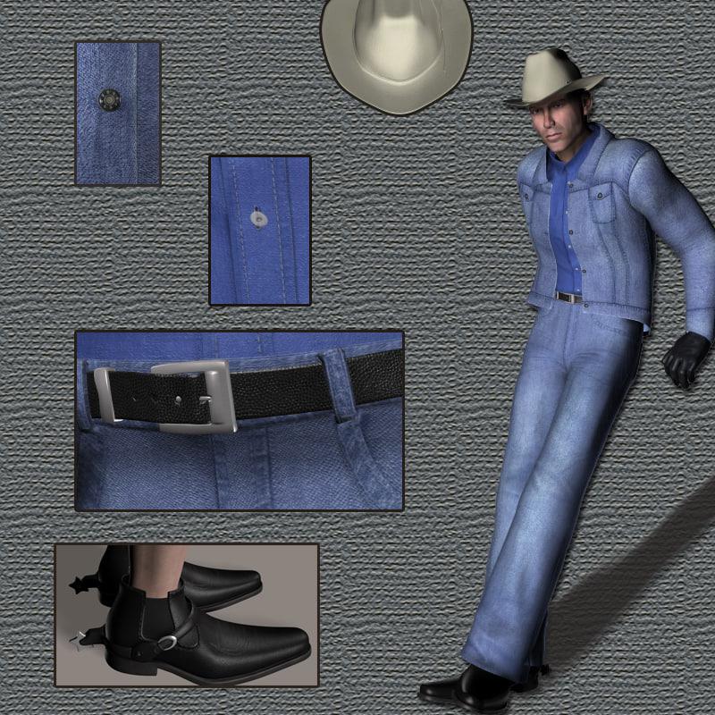 cowboy suit g2 male 3d model
