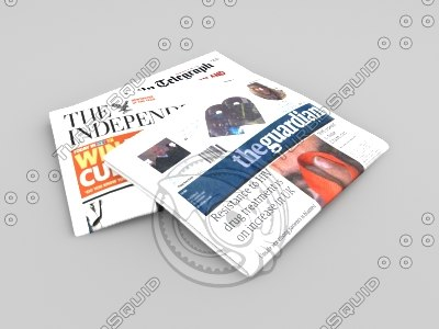 3d model of pile broadsheet newspapers