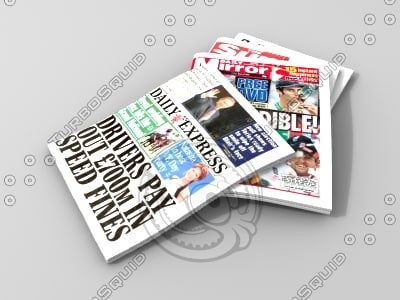 3d model of pile tabloid newspapers
