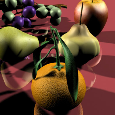 3d model fruits banana pear