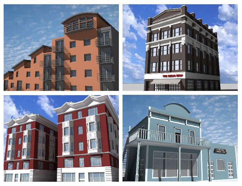 4 definition buildings 3d model