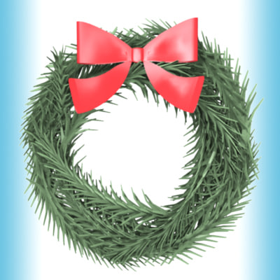 3d holiday wreath model