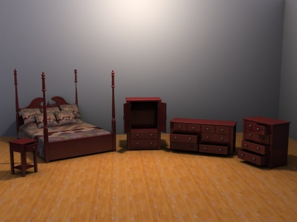 3ds max bedroom set bed
