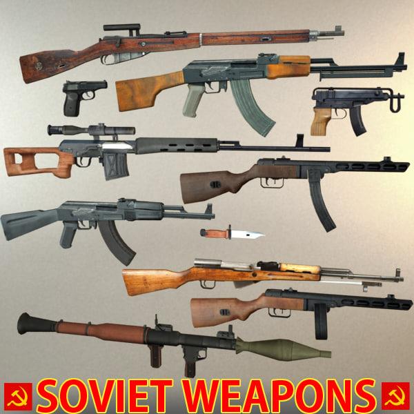 soviet weapons pack 3d model