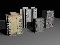 3d block flats model