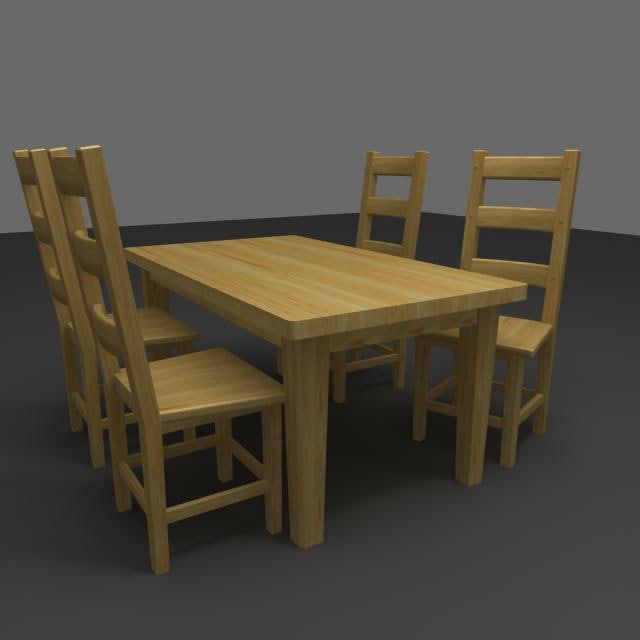 pine dining table chairs 3d ma