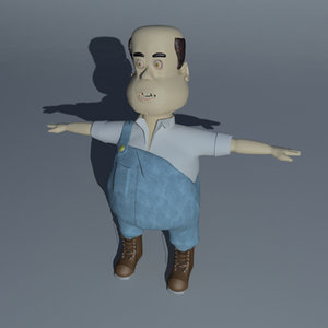3d farmer bob character cartoon model