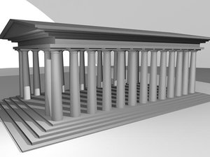 free greek building 3d model