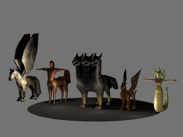 maya creature pegasus centaur cerberus