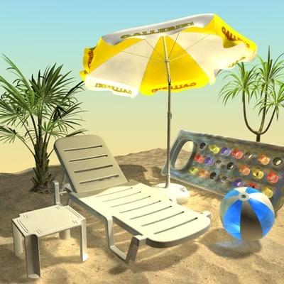 c4d beach parasol table