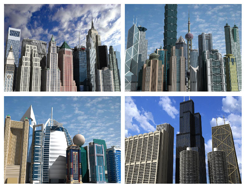 3ds max skyscrapers 4 famous places