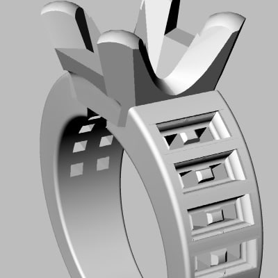 3d model wedding band jewel