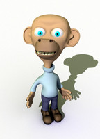 3d cartoon character monkey model