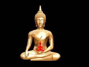 golden statue buddha 3d model