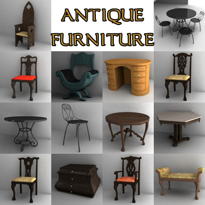 3d antique furniture chairs tables model