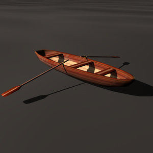 rowing boat bark 3d 3ds