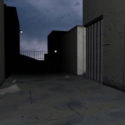 3dsmax scene deserted street corner